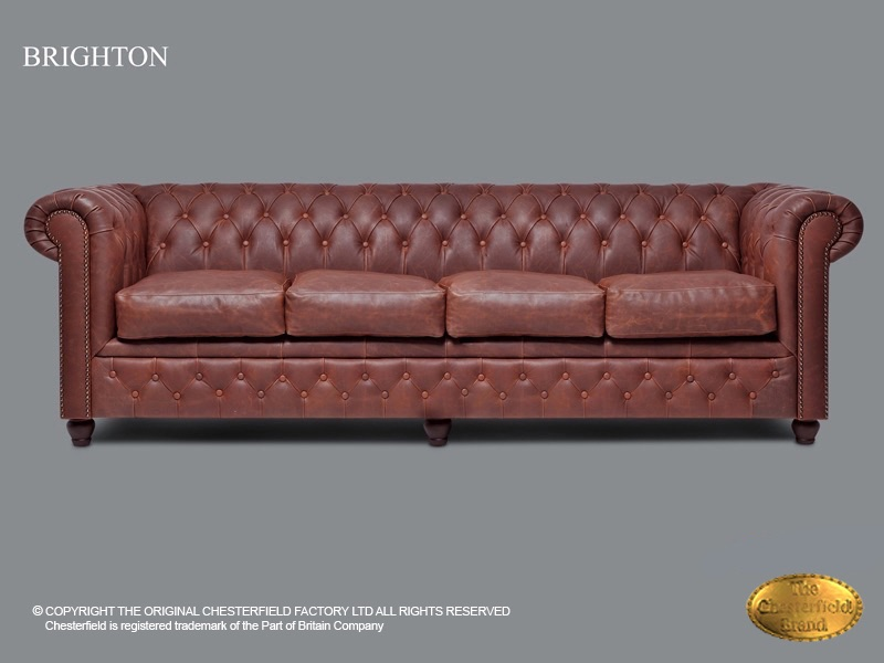 Donkerrode Leren Bank.Chesterfield 4 Zits Bank Brighton Vintage Bruine Leder
