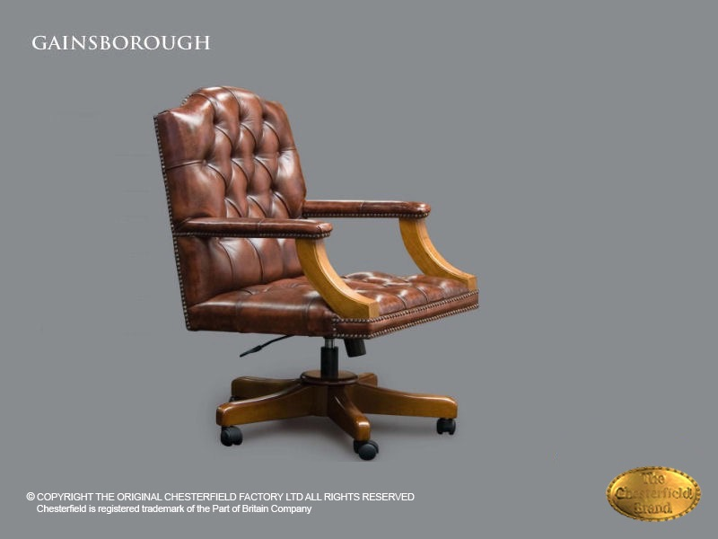 Chaise De Bureau Gainsborough Chesterfield En Cuir Antique Brun
