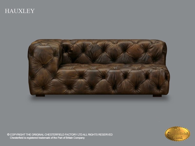 Chesterfield 2 Seat Sofa Hauxley Left Old Look Brown Leather - Derby-chesterfield-sofa