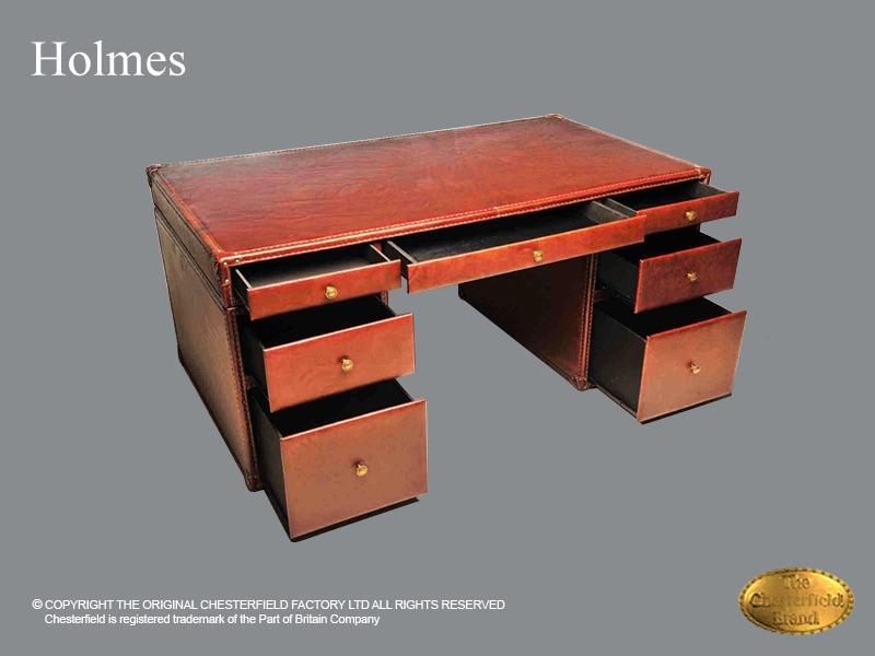 Chesterfield Schreibtisch Holmes Klassik Braunes Leder