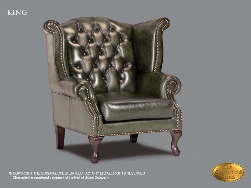 Chesterfield Fauteuil Leer.Chesterfield King Armchair Antique Green Leather Chesterfield Com