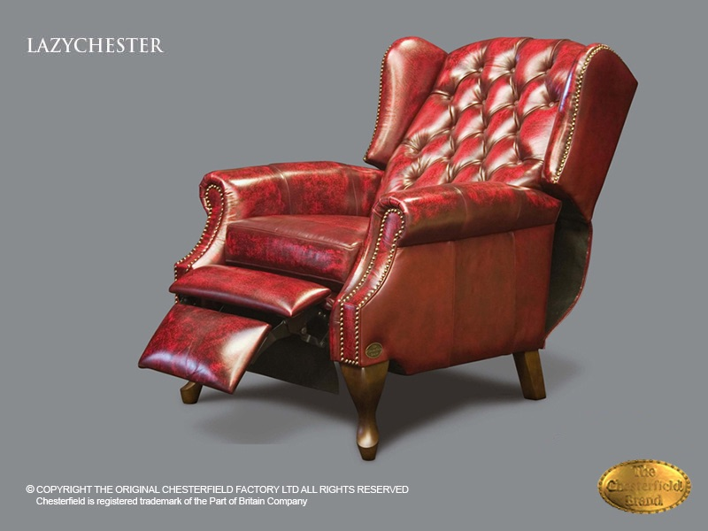 Fauteuil Rood Leer.Chesterfield Lazychester Relax Fauteuil Antiek Bordo Rood Leder