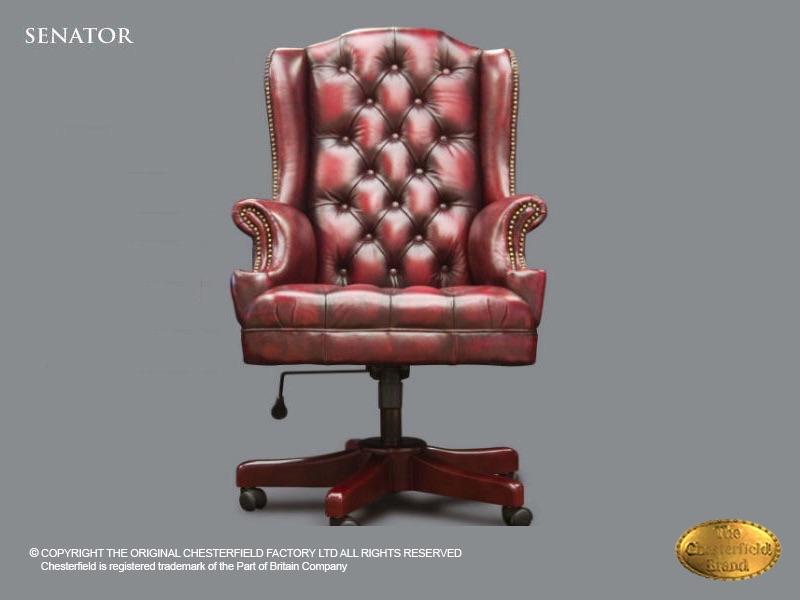 Chesterfield Krzeslo biurowe Senator braz skora