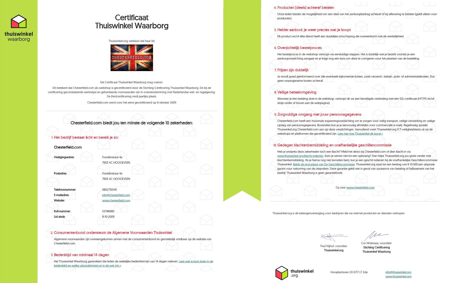 Bekijk ons certificaat Thuiswinkel Waarborg | Chesterfield Showroom